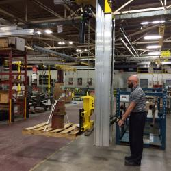 Enclosed track stacker cranes can be built from Ingersoll Rand Zimmerman Rail systems.
